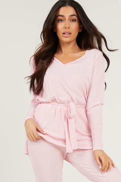 Petite Pink Ribbed Top